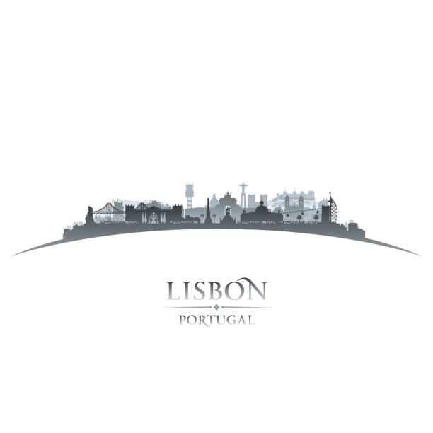 lisbon portugal city skyline silhouette - lizbona stock illustrations