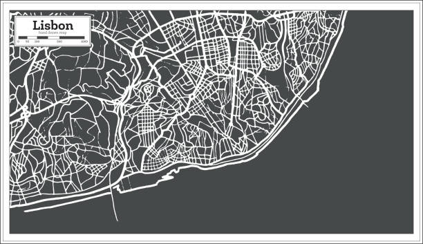 lizbona portugalia mapa w stylu retro. - lizbona stock illustrations