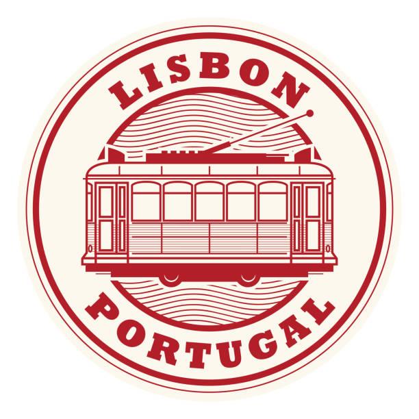 ilustrações de stock, clip art, desenhos animados e ícones de lisbon, portugal stamp - eletrico lisboa