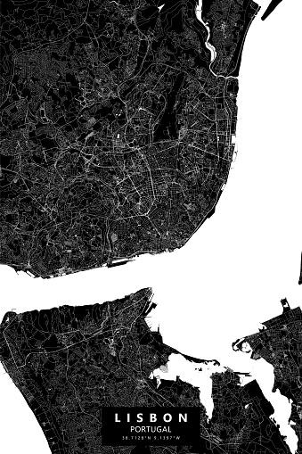 Lisbon, Portugal Vector Map