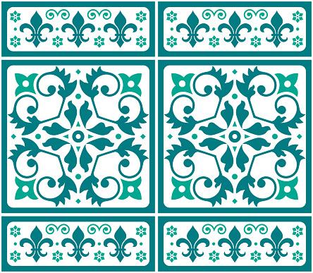 Lisbon, Portuguese style Azulejo tile seamless vector green and white pattern, elegant decorative design with floral motif and fleur de lis shapes