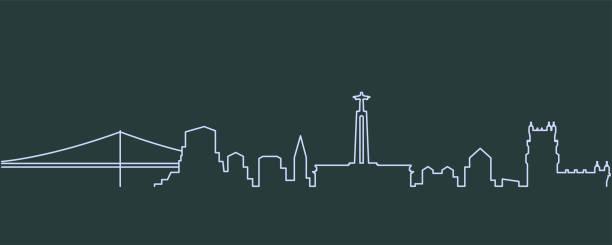 lizbona single line skyline - lizbona stock illustrations