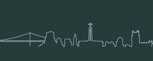 lisbon single line skyline - lizbona stock illustrations