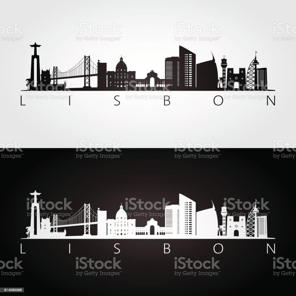 Lisbon skyline and landmarks silhouette, black and white design, vector illustration. - Grafika wektorowa royalty-free (Architektura)