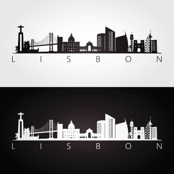 panorama lizbony i sylwetka zabytków, czarno-biały design, ilustracja wektorowa. - lizbona stock illustrations