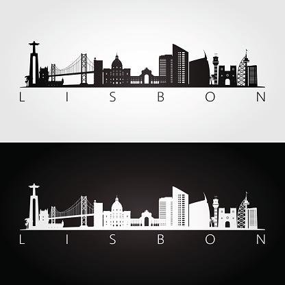 Lisbon Skyline And Landmarks Silhouette Black And White Design Vector Illustration - Stockowe grafiki wektorowe i więcej obrazów Architektura