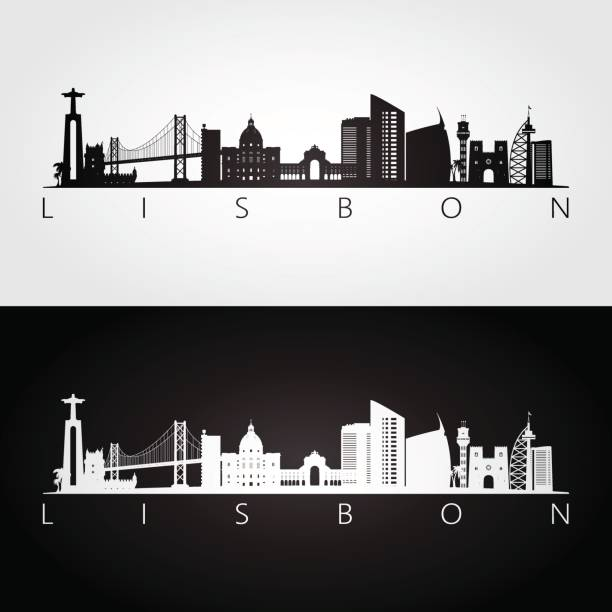 lisbon skyline and landmarks silhouette, black and white design, vector illustration. - lizbona stock illustrations