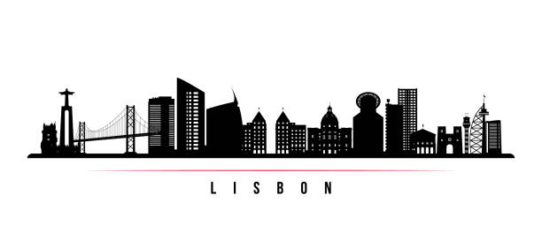 lizbona skyline poziomy baner. czarno-biała sylwetka lizbony, portugalia. szablon wektorowy dla twojego projektu. - lizbona stock illustrations