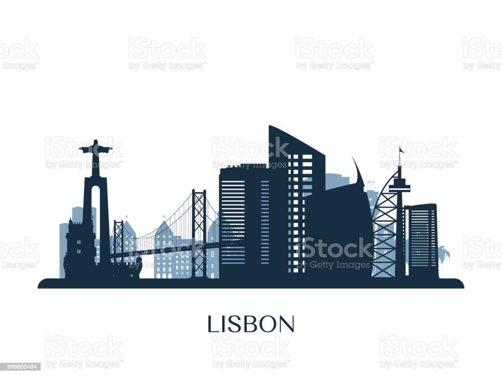 Lisbon skyline, monochrome silhouette. Vector illustration. - Grafika wektorowa royalty-free (Architektura)