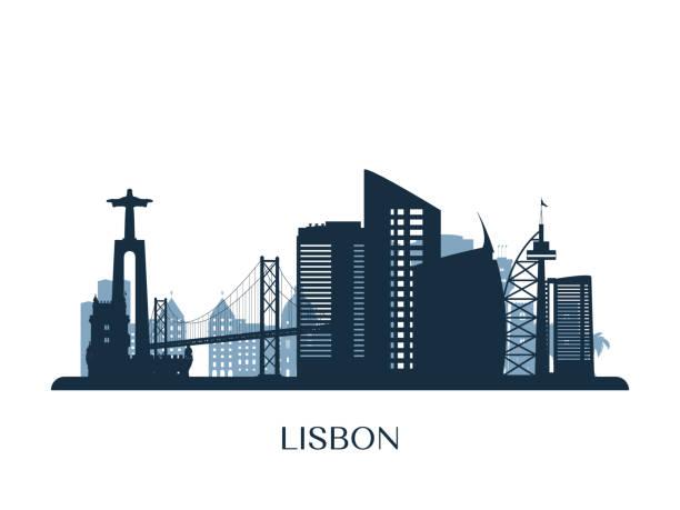 panorama lizbony, monochromatyczna sylwetka. ilustracja wektorowa. - lizbona stock illustrations