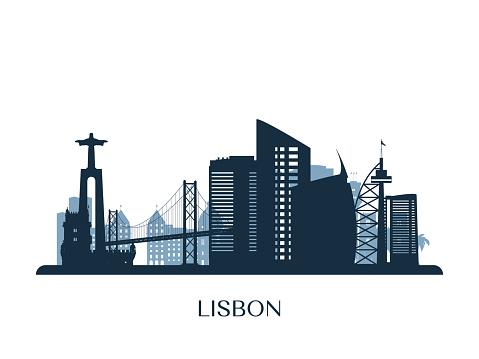 Lisbon Skyline Monochrome Silhouette Vector Illustration - Stockowe grafiki wektorowe i więcej obrazów Architektura