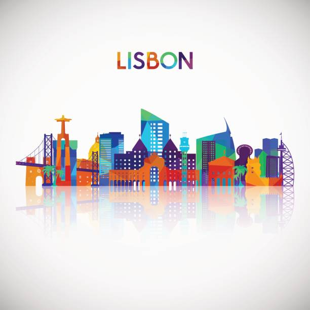 lisbon skyline silhouette in colorful geometric style. portugal symbol for your design. vector illustration. - lizbona stock illustrations