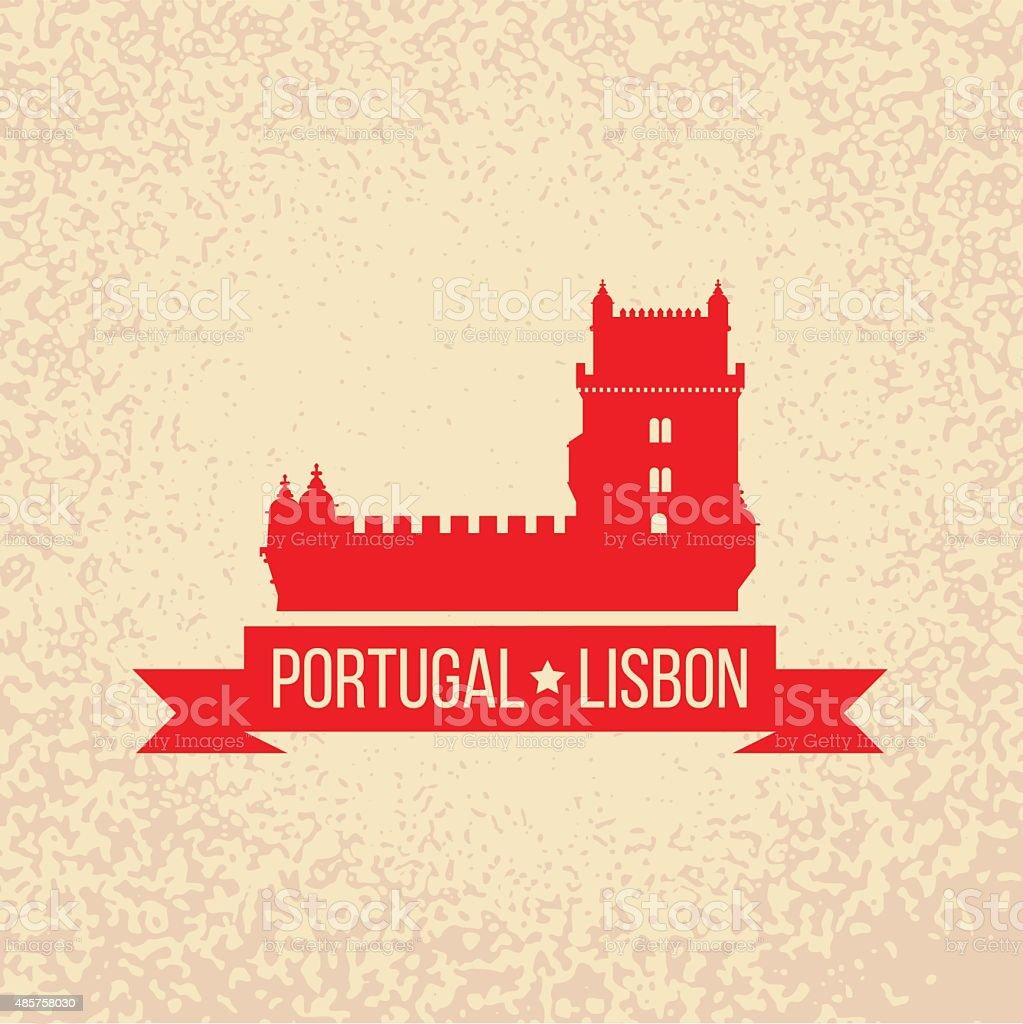 Lisbon symbol - Belem tower - vector illustration vector art illustration