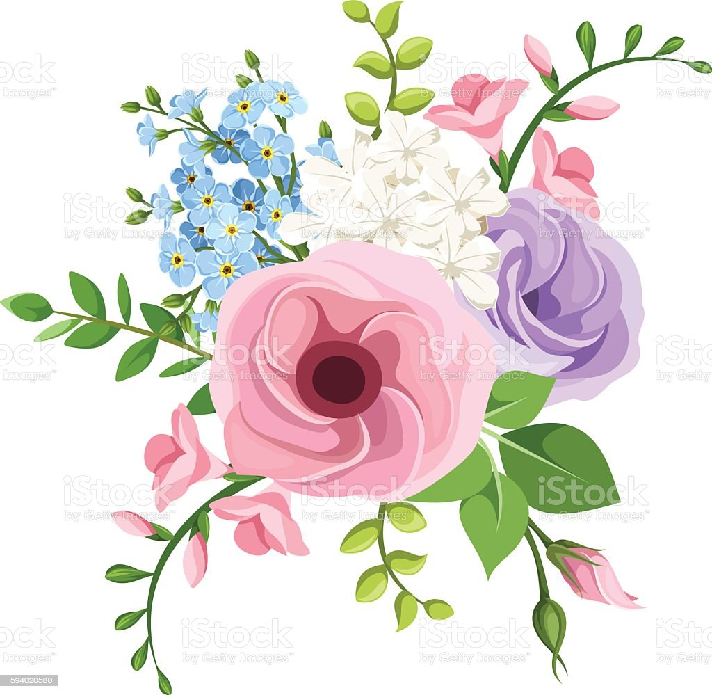 Lisianthus freesia and forgetmenot flowers bouquet vector lisianthus freesia and forget me not flowers bouquet vector illustration royalty izmirmasajfo