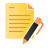 List and pen flat icon. Papers with pen color icons in trendy flat style. Note gradient style design, designed for web and app. Eps 10