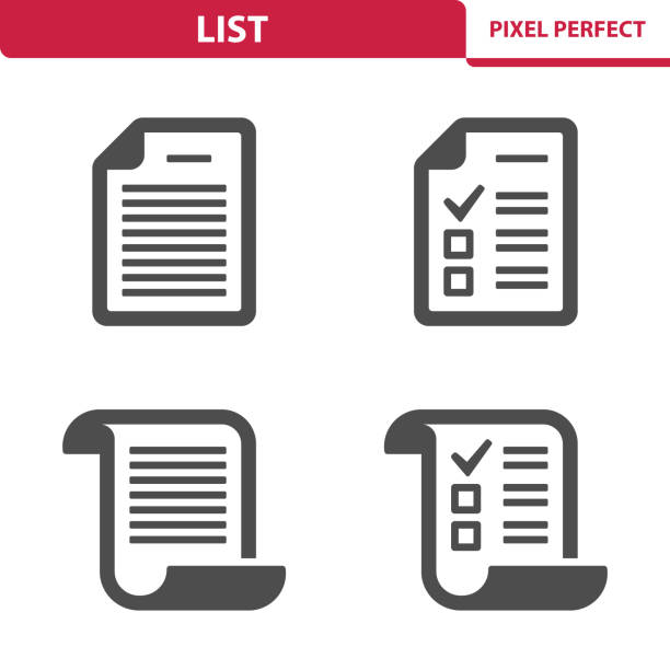 List Icons Professional, pixel perfect icons depicting various list concepts. shopping list stock illustrations