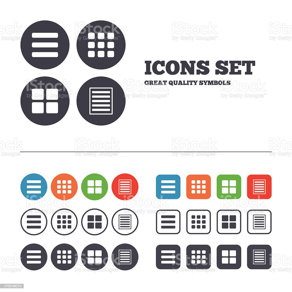 List Menu Icons Content View Options Stock Vector Art 473248274 Istock
