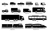 Illustrations artwork depict land transport for commercial  work. These are taxi, van, pickup, truck, bus, lorry, and train.