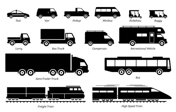 List of commercial landed vehicles transportation icons. Illustrations artwork depict land transport for commercial  work. These are taxi, van, pickup, truck, bus, lorry, and train. semi truck stock illustrations