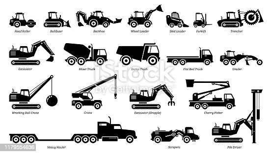 istock List of construction vehicles, tractors, and heavy machinery icons. 1179554636