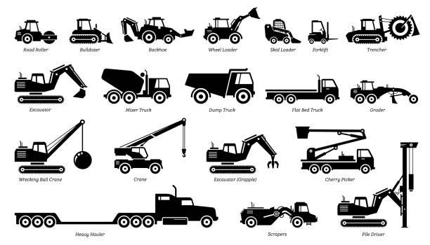 liste von baufahrzeugen, traktoren und schweren maschinen-ikonen. - bagger stock-grafiken, -clipart, -cartoons und -symbole