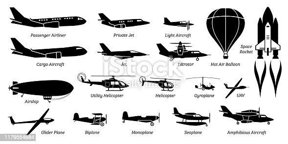 Artwork show airliner, jet, light aircraft, cargo plane, airship, helicopter, space rocket, biplane, monoplane, and seaplane.