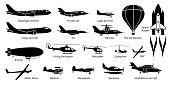 istock List of different airplane, aircraft, aeroplane, plane and aviation icons. 1179554684