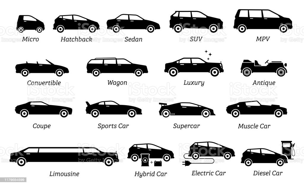 List Of Different Types Of Car Icons Stock Illustration Download Image Now Istock