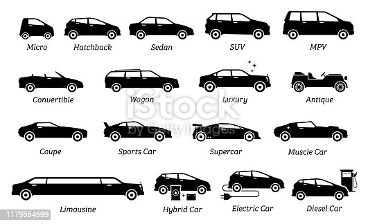 Set icon of cars, transportation, vehicles from different segments and types in simple silhouette black pictogram. Side view of many type cars.