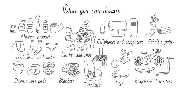 ilustraciones, imágenes clip art, dibujos animados e iconos de stock de lista de artículos de donación en estilo doodle. - social media