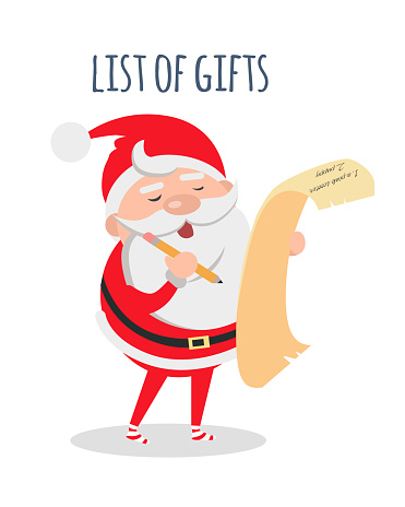 List of Gifts. Santa Claus with Wish List. Vector
