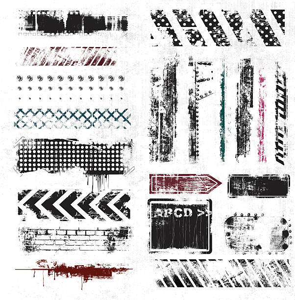 list of grunge elements on white background - graffiti texture stock illustrations, clip art, cartoons, & icons