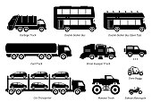 Side view artwork of garbage truck, double decker bus, fuel truck, street sweeper, 4wd, car transporter, monster truck, dune buggy, and sidecar motorcycle.
