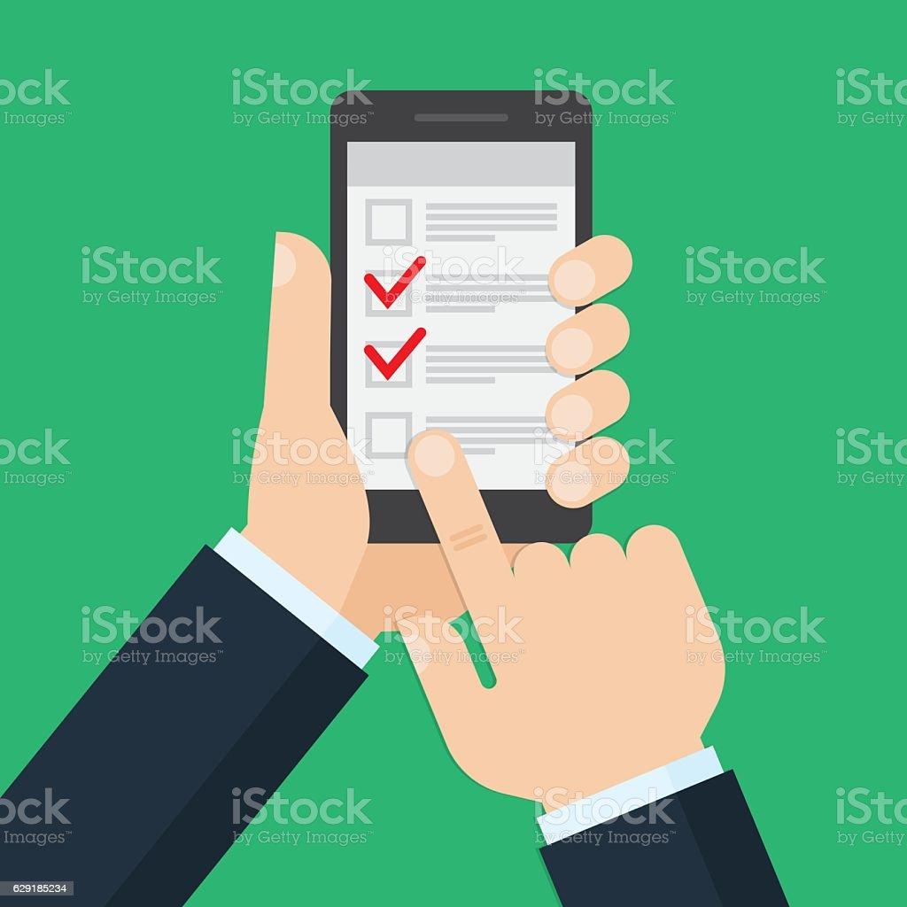 list on smartphone screen. vector art illustration