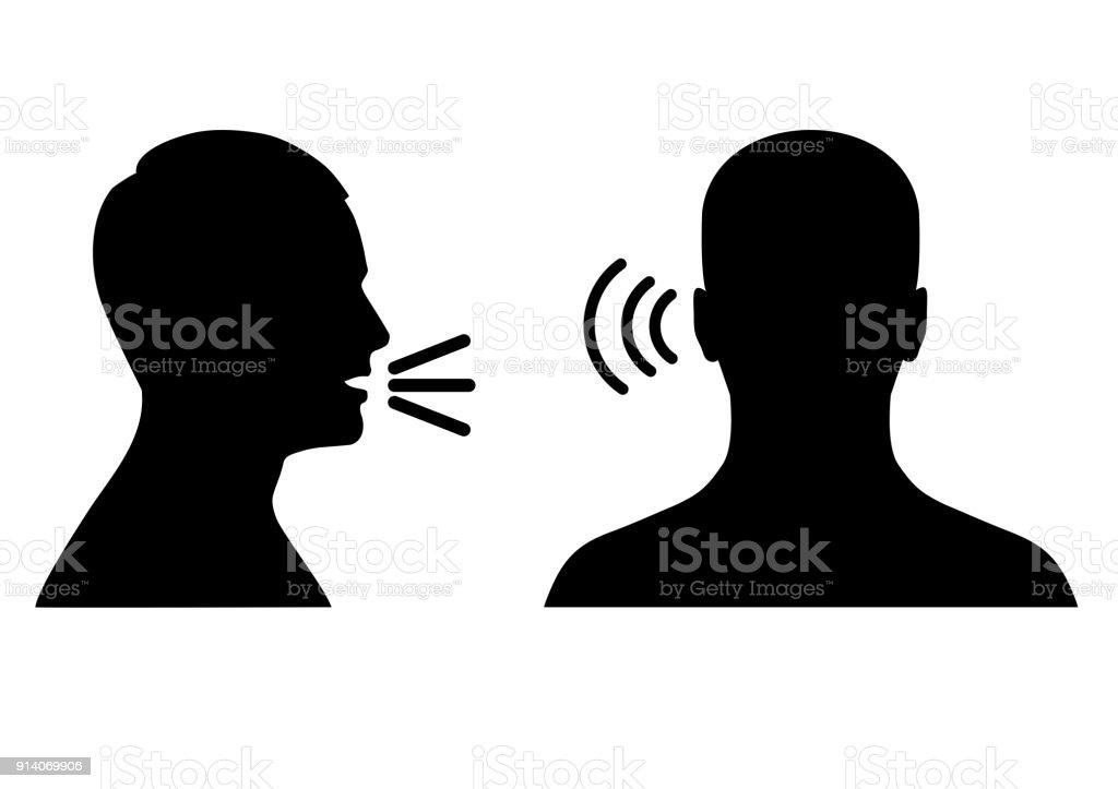 listen and speak icon, voice or sound symbol vector art illustration