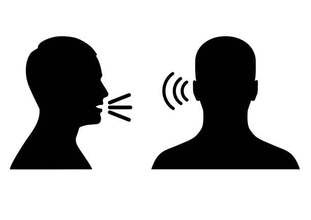 stockillustraties, clipart, cartoons en iconen met luisteren en spreken pictogram, stem of geluid symbool - menselijk hoofd