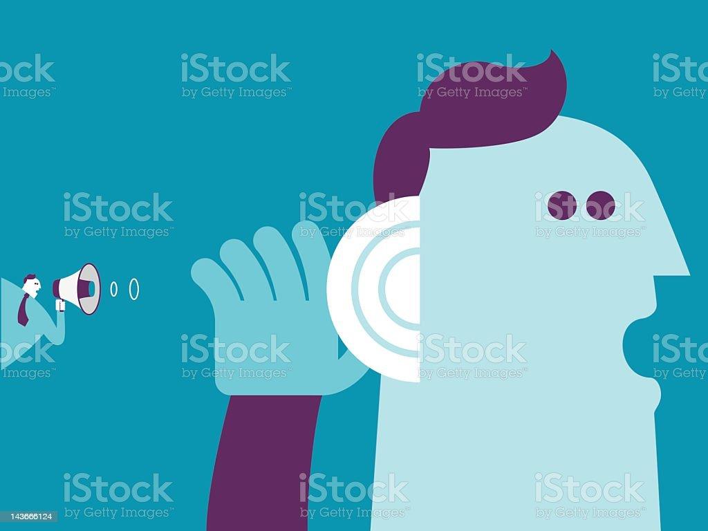 Listen carefully vector art illustration