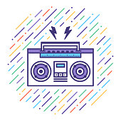 Flat line vector icon illustration of listen music mix with abstract background.