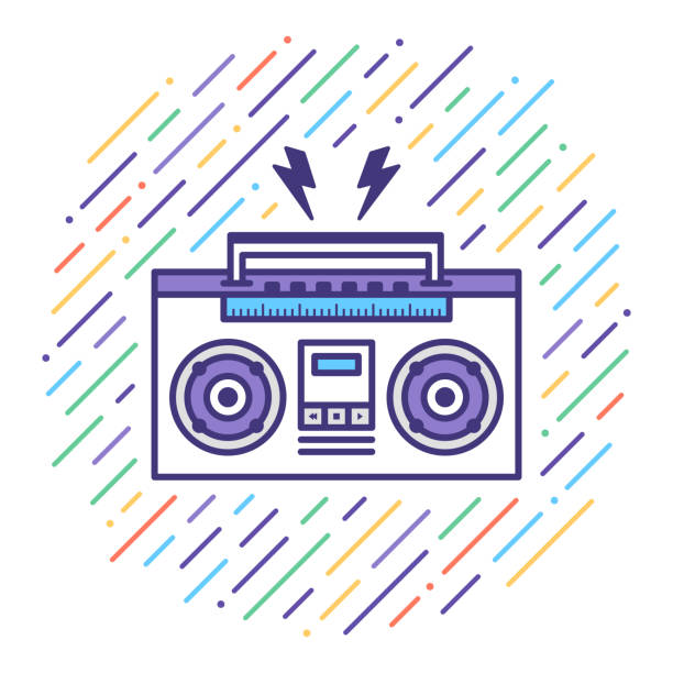 listen music mix flat line icon illustration - record analog audio stock illustrations