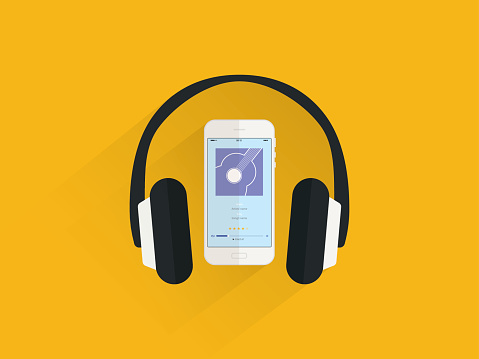 Listen music on smartphone, flat design