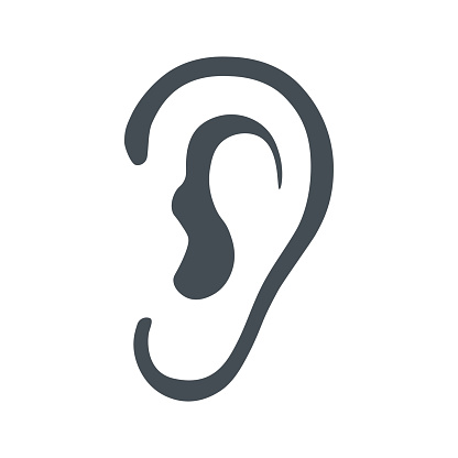 Ear icon on white background. Vector illustration. Listen, hearing, sound icon