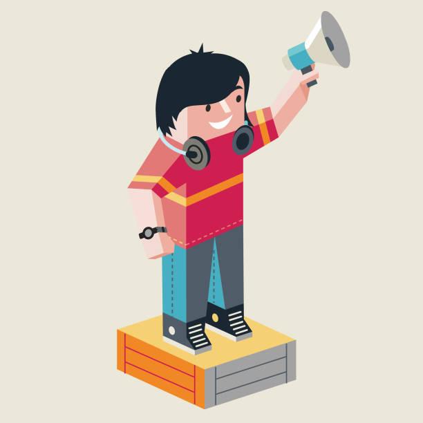 Listen to me! vector art illustration