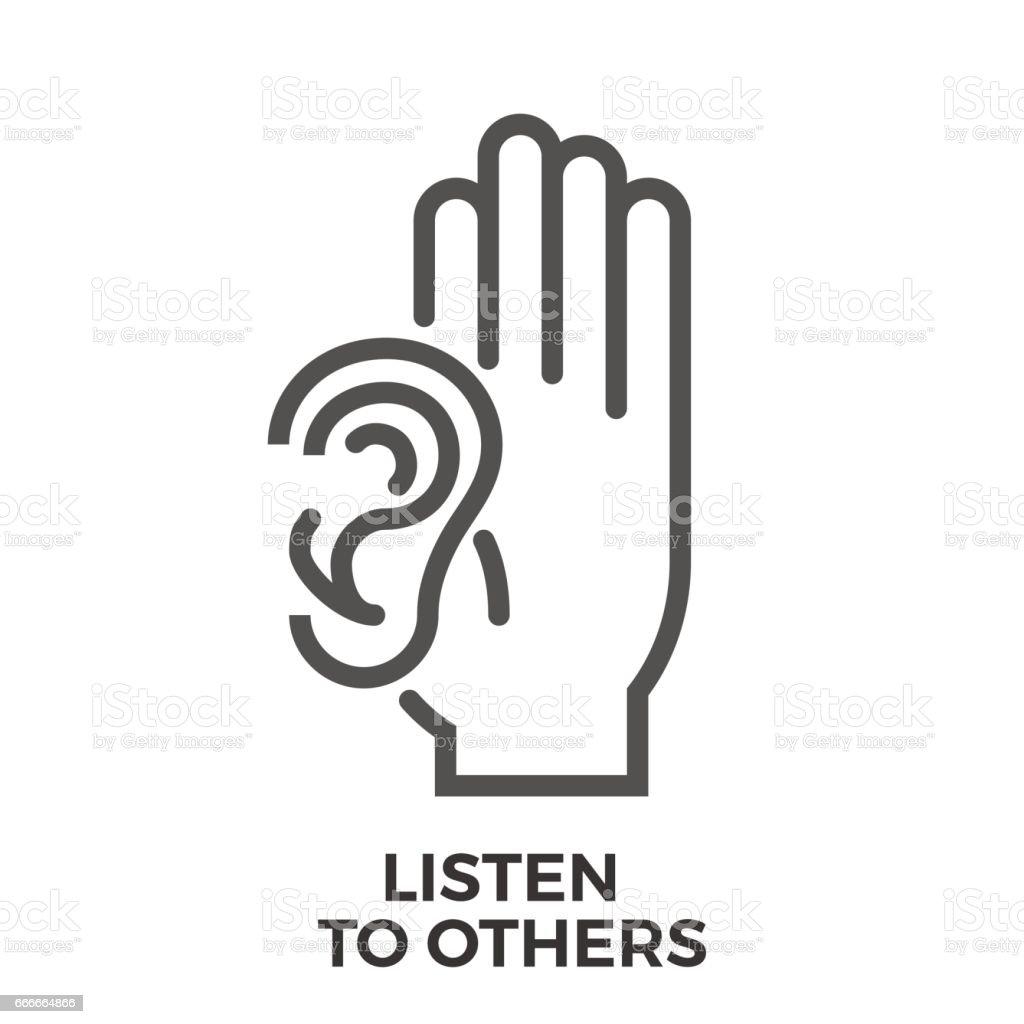 Listen to others vector art illustration