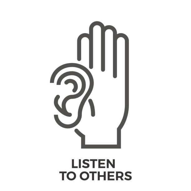 illustrazioni stock, clip art, cartoni animati e icone di tendenza di listen to others - ear talking