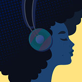 trendy design stylized portrait of a young girl listening to music in big headphones