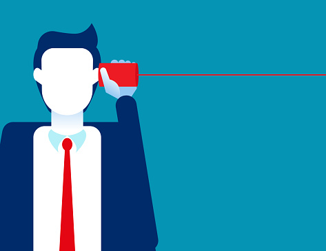 Listening in tin can telephone. Business communication concept. Flat cartoon vector style