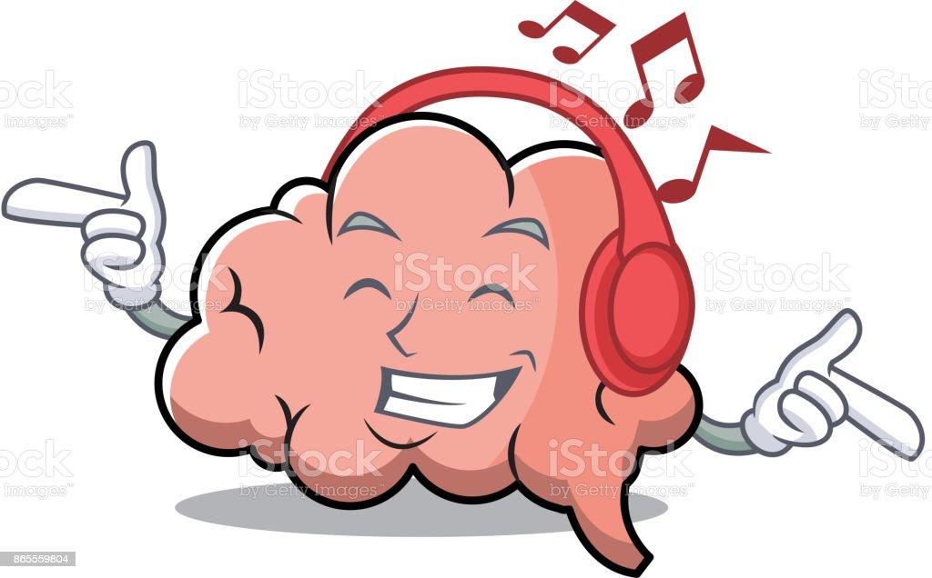 Hören Musikgehirncharaktercartoonstil Stock Vektor Art und mehr ...