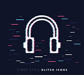 Glitch effect vector icon illustration of listening music with abstract background.