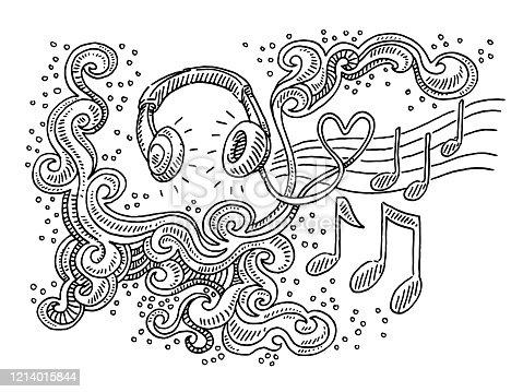 Listening Music Headphones Abstract Swirl Pattern Drawing