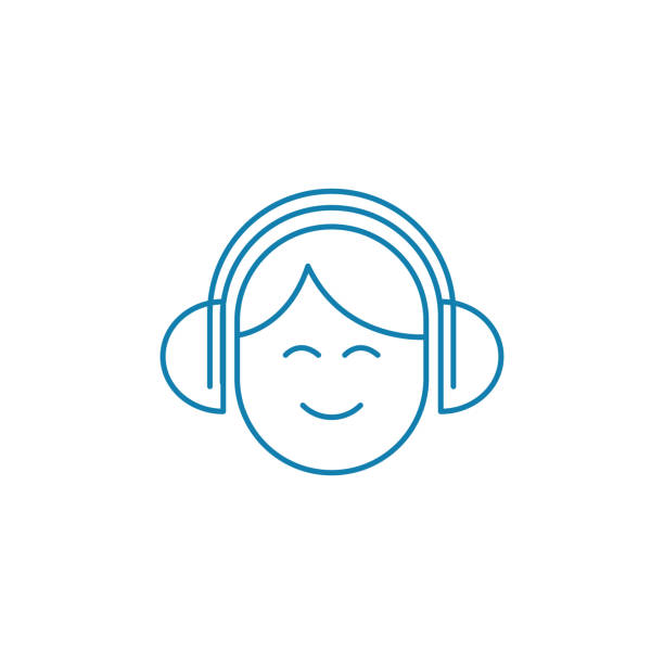Listening music in headphones linear icon concept. Listening music in headphones line vector sign, symbol, illustration. Listening music in headphones line icon, vector illustration. Listening music in headphones linear concept sign. suave stock illustrations
